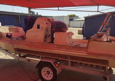 Semi rigid boat before before service repairs