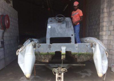 Semi rigid boat before full service repairs
