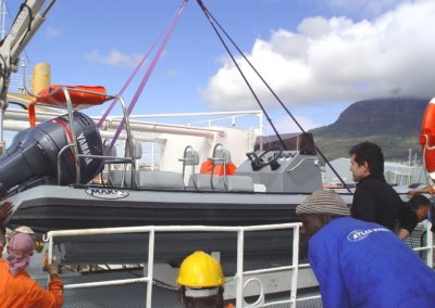 7.2m RHIB being offloaded for testing