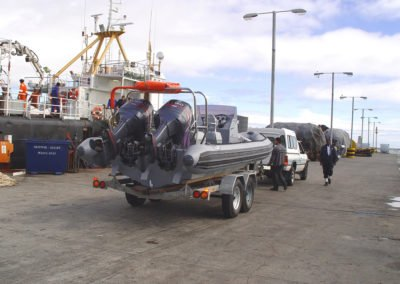 7.2m Rigid Hull Inflatable Boat(RHIB) being taken to the ocean