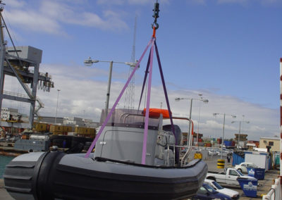 7.2m RIB being offladed for testing (sideview)