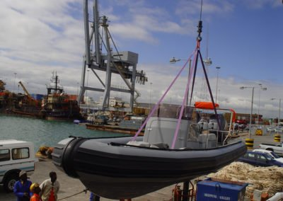 7.2m RIB being offladed for testing